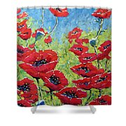 Red Poppies By Prankearts Shower Curtain