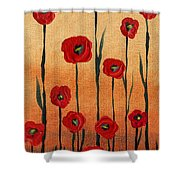 Red Poppies Decorative Art Shower Curtain
