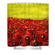 Red Poppies Field  Shower Curtain