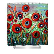 Red Poppies In Grass Shower Curtain