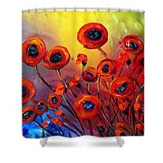 Red Poppies In Rain Shower Curtain