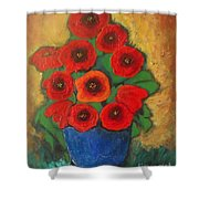 Red Poppies In Blue Vase Shower Curtain