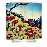 Red Poppies Under A Blue Sky Shower Curtain