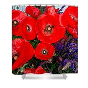 Red Poppy Cluster With Purple Lavender Shower Curtain
