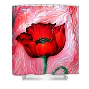 Red Poppy Flower. Pink Sunset Shower Curtain
