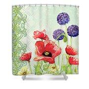 Red Poppy Purple Allium IIi - Retro Modern Patterns Shower Curtain