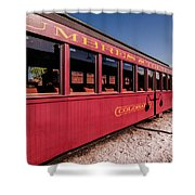 Red Rail Cars Shower Curtain