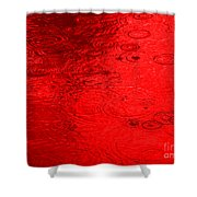 Red Rain Droplets Shower Curtain