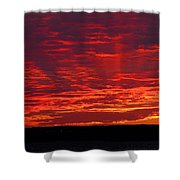 Red Ray Sunset Shower Curtain