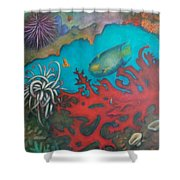 Red Reef Shower Curtain by Lynn Buettner
