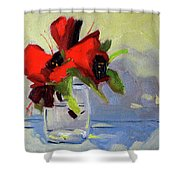 Red Rhody Shower Curtain
