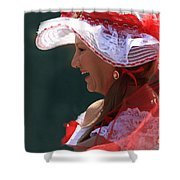 Red Ribbon Bow Shower Curtain