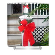 Red Ribbon On Steps Shower Curtain