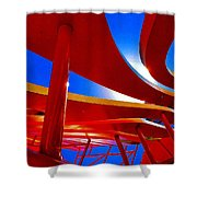 Red Ride Blue Sky Shower Curtain