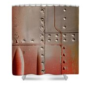 Red Rivets Shower Curtain