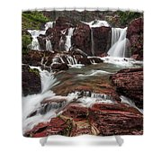 Red Rock Falls Shower Curtain