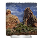 Red Rock Formations On A Desert Plateau In Utah Shower Curtain