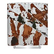 Red Rock Greenery Shower Curtain
