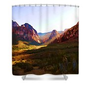 Red Rock Rays Shower Curtain