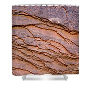 Red Rock Ripples Shower Curtain by PJ Boylan