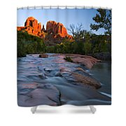 Red Rock Sunset Shower Curtain by Mike  Dawson