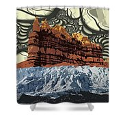 Red Rock White Ice Shower Curtain