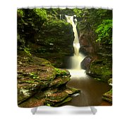 Red Rocks And Lush Green Forest Shower Curtain