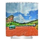 Red Rocks Hippie Van Shower Curtain