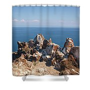 Red Rocks On Blue Sky And Water Background Shower Curtain by Sergey Taran
