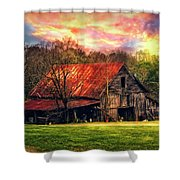 Red Roof At Sunset Shower Curtain