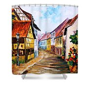 Red Roof - Palette Knife Oil Painting On Canvas By Leonid Afremov Shower Curtain
