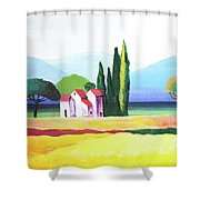 Red Roof Pastoral Shower Curtain