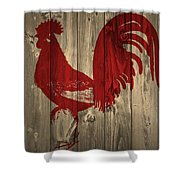 Red Rooster Barn Door Shower Curtain