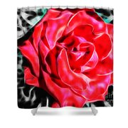 Red Rose Fractal Shower Curtain