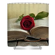 Red Rose On An Old Big Book Shower Curtain
