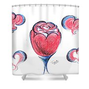 Red Rose- With Love  Shower Curtain
