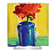 Red Rose With Yellow And Green Shower Curtain