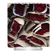 Red Roses Wrapped In Paper Displayed Shower Curtain