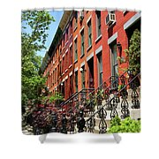 Red Row Houses Shower Curtain