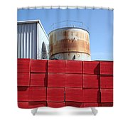 Red Rust And Blue Shower Curtain