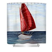 Red Sail Serenity Shower Curtain