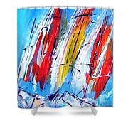 Red Sails On Blue  Shower Curtain