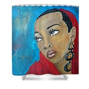 Red Scarf Shower Curtain