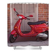 Red Scooter Shower Curtain