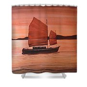 Red Sea With Chinese Boat Shower Curtain