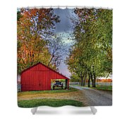 Red Shaker Carriage Barn Shower Curtain