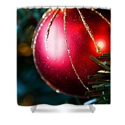 Red Shiny Ornament Shower Curtain