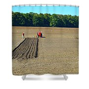 Red Shirt Red Tractor  Shower Curtain