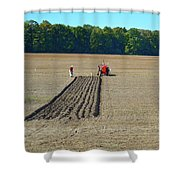 Red Shirt Red Tractor Two  Shower Curtain