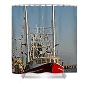 Red Shrimp Boat Shower Curtain